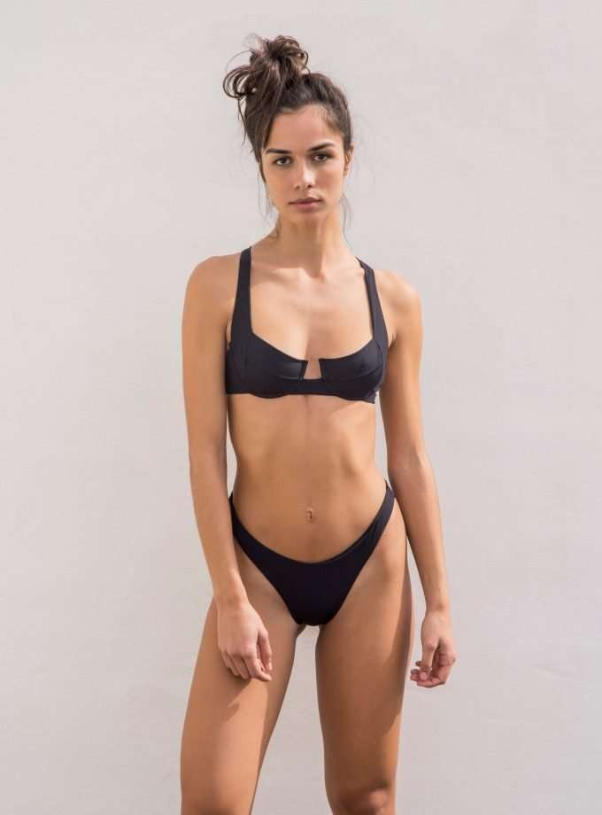 bloom bottom - black ribbed sustainable swimwear
