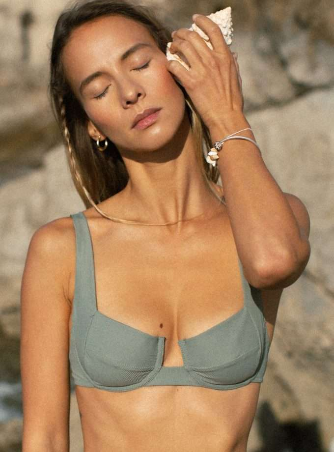 Bloom Bra - Sage Greem - woman beach