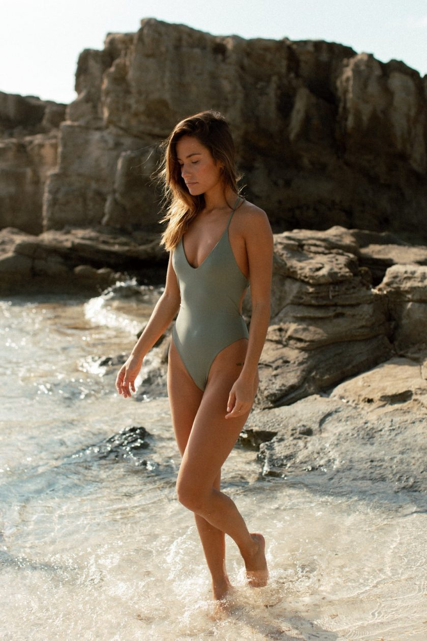 Elen one piece - Sage green ribbed - woman beach