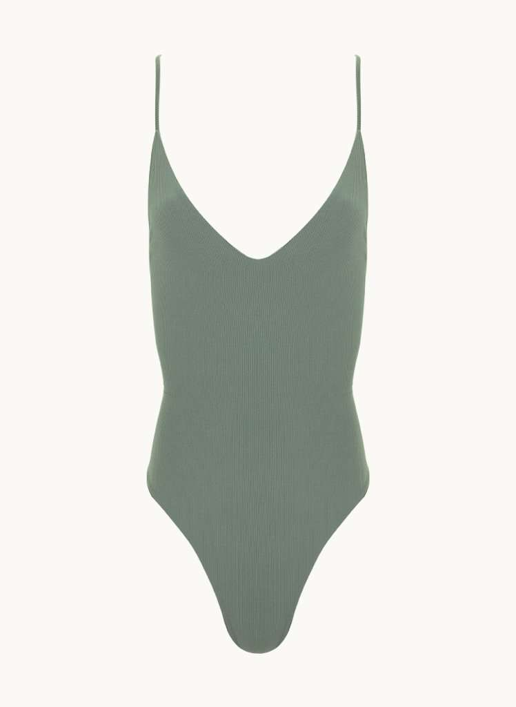 Elen one piece - Sage green ribbed
